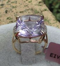 8.93 cts Genuine Rose de France Amethyst Solitaire Size 7 Ring 9k Yellow Gold