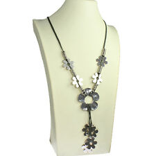 Lagenlook quirky flower antique silver style grey leather cord long necklace
