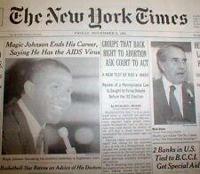 1991 NY Times newspaper LA LAKER basketball player MAGIC JOHNSON has AIDS VIRUS