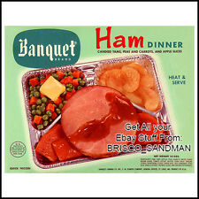 Fridge Fun Refrigerator Magnet BANQUET TV DINNER: HAM DINNER Retro Food Package