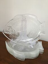 6pc Vintage Fish Shaped Oven Proof Large Glass Dinner Plates Made In USA