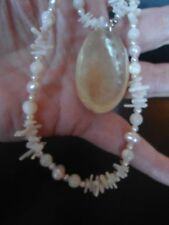 BRIDAL PINK PEARL, MOP & WHITE CORAL 2 STRAND NECKLACE STERLING SILVER CLASP BB2