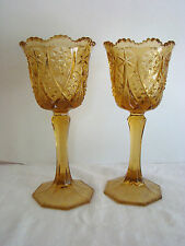"""VTG PAIR OF 9-1/2"""" TALL HOBSTAR AMBER GLASS GOBLET SHAPED CANDLE HOLDERS - EUC"""