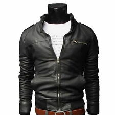 New Men fashion jackets collar Slim motorcycle leather jacket coat outwear Hot