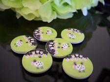 6 Beautiful Sheep  Wooden Buttons
