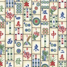 """Timeless Treasures Mahjong Tiles Game C4816 100% cotton 43"""" fabric by the yard"""