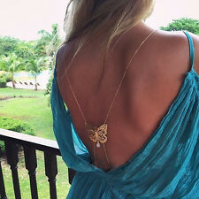 Fashion Unique Long Necklace Body Chain Bare Back Gold Butterfly Necklaces