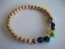 Spiritual Inspirational CHAKRA Stacking Bracelet Lotus Buddha ECO Wood Beads