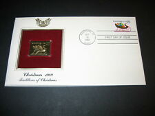 1989 CHRISTMAS TRADITIONS OPEN SLEIGH 22kt Gold GOLDEN Cover replica FDC STAMP
