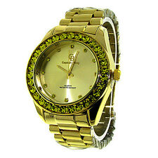 MENS ICED OUT GOLD/YELLOW CAPTAIN BLING ICE NATION HIP HOP WATCH WITH METAL BAND