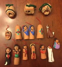 Vintage 16 Piece Christmas Ornament Set Native Jemez Pueblo Pottery Storyteller