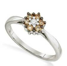 Lovely! 100% 10K White Gold Chocolate Brown & White Diamond Cluster Ring .25ct