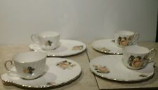 Vintage 8 pc SPRINGTIME GLADSTONE Staffordshire Bone China Snack Plates and Cups