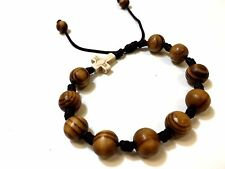 Shamballa Jewelry Rope Wood  Beaded Cross Bracelet for Men and Women. 8 mm Beads