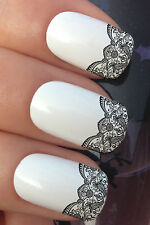 NAIL ART SET #657 x12 FRENCH TIPS WAVE LACE EDGE WATER TRANSFER DECALS STICKERS
