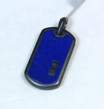 New David Yurman Men's Dog Tag Pendant Enhancer 35mm Lapis Black Titanium $460