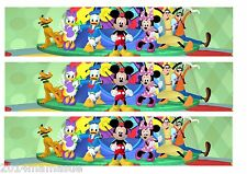 3 Mickey Mouse Club House Cinta De Frontera Hoja De Glaseado Comestible Cumpleaños Pastel Topper