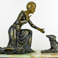 RARE 1920s French ART DECO LADY with BORZOI SCULPTURE by RAPHAEL SCALI, signed