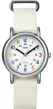 Timex Women's T2N837KW Weekender Watch with White Nylon Band