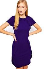 New Women's KAREN MILLEN Jersey Frill Bodycon Dress Size 6 10 12 14 Purple / Red