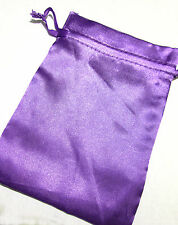 Purple Satin Drawstring Pouch 7x5in QTY3 Gift Jewelry Wedding Crystals Bag