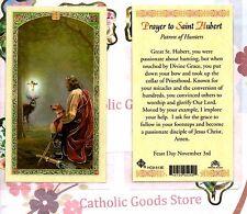 Saint Hubert with Prayer to St. Hubert -Laminated Holy Card