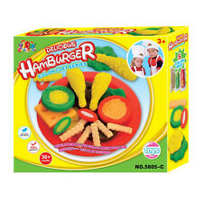 Yiqis Play Dough Mold Delicious Hamburger A Mode Soft Clay Plasticine Kids Toy