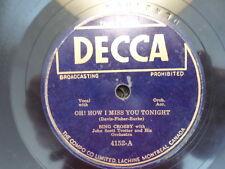CANADA DECCA 78 RECORD/BING CROSBY/I MISS YOU TONIGHT/DEAR LITTLE BOY OF MINE/