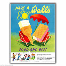 WALL'S ICE CREAM Vintage Retro Travel Advert METAL WALL SIGN PLAQUE poster print