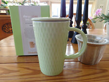 NIB Davids Tea 12oz Mug/Cup w/Stainless Steel Infuser & Lid -Light Green Seed