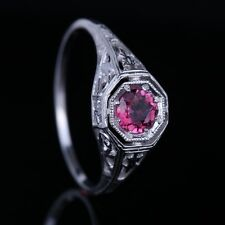 SOLID 925 SILVER ANTIQUE FILIGREE NATURAL TOURMALINE ART DECO STYLE VINTAGE RING