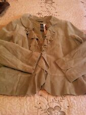 IMAN RUFFLED TRIMMED SUEDE JACKET...SIZE 3X