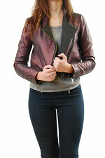 Denham Women's Galaxy Leather Jacket Adonised Bordo Size S BCF511