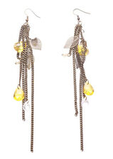 Antique Bronze Stranded- Yellow, Clear Crystal & Petal Charm Earrings.(Zx- 103)