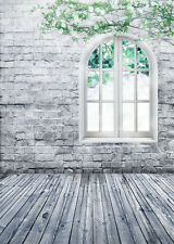 Brick Wall Window Floor Studio Vinyl Photography Backdrop Photo Background 5x7FT