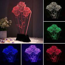 Chambre illusion en 3D LED nuit 7 changement de couleur table lumière rose fleur