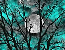 Teal Tree Moon Modern Bedroom Home Decor Wall Art Matted Picture