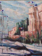ancienne huile sur toile bord de mer drapeau français bateaux