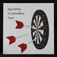 Personalised Handmade Men's Male Birthday Greeting Card by Bijou Crafts - DARTS