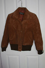 Vintage Bomber Genuine Leather Suede Jacket Brown Made In Uruguay Small/Medium