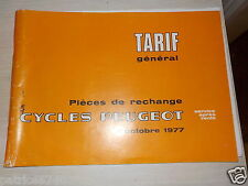 TARIF GENERAL PIECES. CYCLES PEUGEOT.
