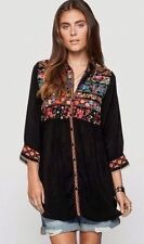 NWT Johnny Was 1X Women's Plus ARTISAN Blouse TUNIC TOP Embroidered BLACK LONG