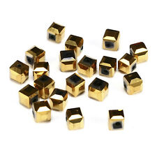 20pcs P-golde 6mm Faceted Square Cube Cut glass crystal Loose Spacer beads