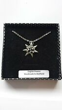 C21 Small Edelweiss english pewter 3D Platinum Necklace Handmade 18 INCH