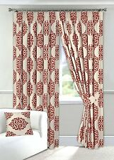 "Red & Cream Curtains Readymade 90"" x 90"" Pencil Pleated Fully Lined Tiebacks"