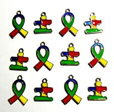 Autism Awareness Charms Puzzle Piece Ribbon Aspergers Bulk Lot of 20