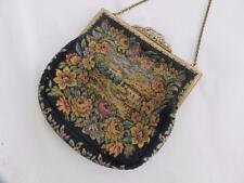 Vintage années 1930 floral tapestry needlework & gilt encadrée sac à main sac à main