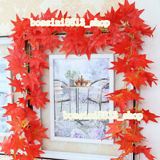 2X Artificial Flower Fake Foliage Flower Red Maple Leaves Home Garden Decoration