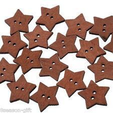 100PCs 2 Holes Star Coffee Wooden Buttons Fit Sewing and Scrapbook 19x18mm