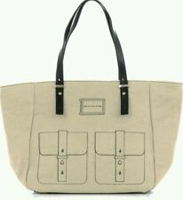 MARC JACOBS WERDIE CANVAS AND LEATHER TOTE-BEIGE,LARGE